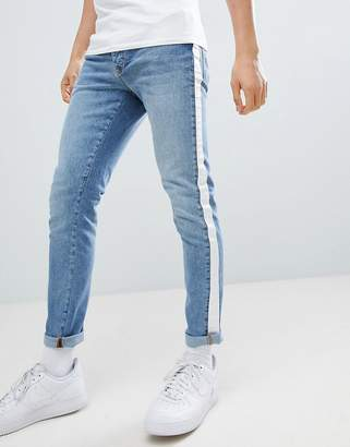 Criminal Damage Skinny Jeans In Blue With Taping