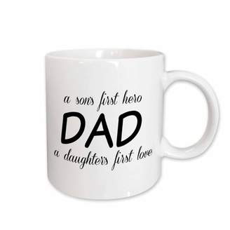 3dRose Dad, a sons first hero a daughters first love, black lettering, Ceramic Mug, 11-ounce