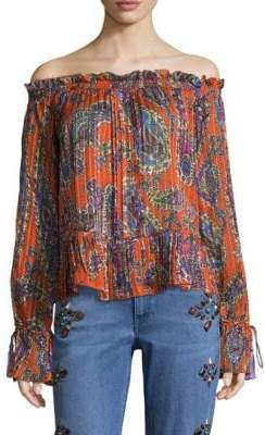 Etro Psych Paisley Off-The-Shoulder Top