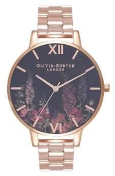 Olivia Burton Dark Bouquet Stainless Steel Bracelet Watch