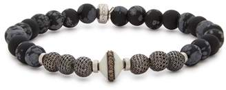 Tateossian Black And Silver Tone Beaded Bracelet