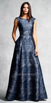 Aidan Mattox Marled Box Pleated Evening Gown $420 thestylecure.com