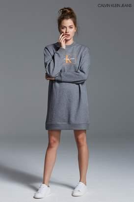 Next Womens Calvin Klein Jeans Grey Graphic Sweatshirt Dress