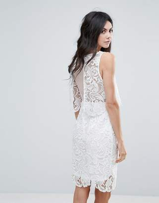 Amy Lynn Lace Overlay Midi Dress With Open Back