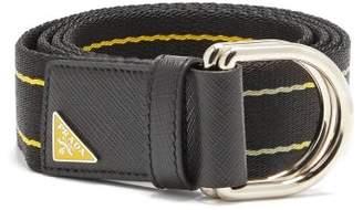Prada Canvas And Leather Belt - Mens - Black Yellow