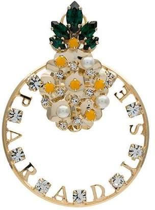 Anton Heunis gold tone pineapple swarovski earring