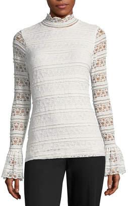 WORTHINGTON Worthington Long Sleeve Mock Neck T-Shirt-Womens