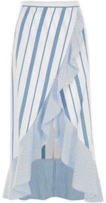 River IslandRiver Island Womens Blue stripe print frill hem wrap maxi skirt