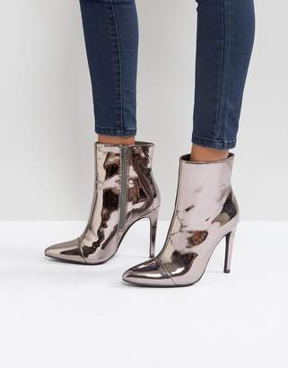 London Rebel Stiletto Heel Pointed Ankle Boot with Silver Zip
