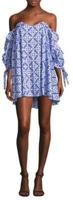 Caroline Constas Gabriella Off-The-Shoulder Printed Shift Dress