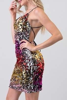 Minuet Open Back Sequin Dress