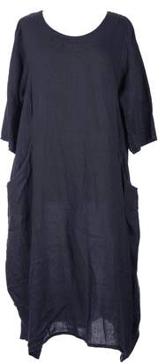 TEXTURE New Ladies Womens Italian Lagenlook Quirky Short Sleeve Plain 2 Side Pocket Linen Long Dress UK 12-16