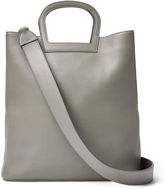 Ralph Lauren Horseshoe Tall Leather Tote Bag, Gray