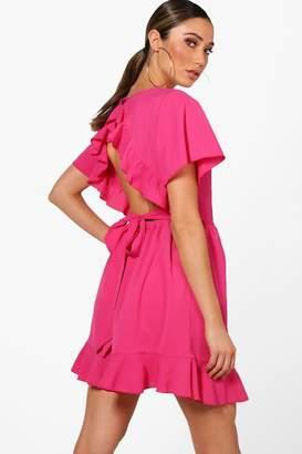 boohoo Ruffle Open Back Tea Dress