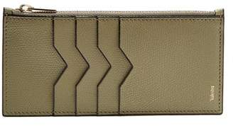 Valextra Grained Leather Zip Cardholder - Mens - Khaki