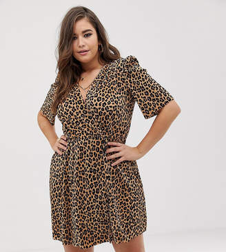 c4f7742058b6e Asos DESIGN Curve leopard print plisse mini dress with button detail