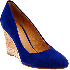 Franco Sarto Suede Cork Wedge Pumps - Calix $58.32 thestylecure.com