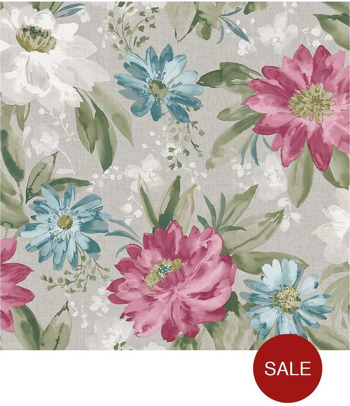 ARTHOUSE Painted Flower Pink & Teal Wallpaper