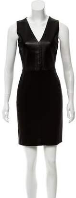 Derek Lam Leather-Paneled Mini Dress