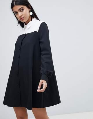 Asos DESIGN mono color block trapeze shirt mini dress with long sleeves