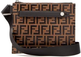Fendi Logo-embossed leather messenger bag