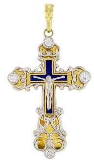 18K Diamond & Enamel Crucifix Pendant