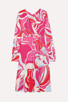 Emilio Pucci Belted Printed Wrap-effect Stretch-jersey Dress - Pink