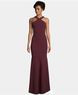 Betsy & Adam Crisscross-Halter Evening Gown