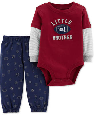 Carter's Baby Boys 2-Pc. Cotton Layered-Look Little Brother Bodysuit & Pants Set