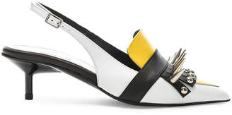 Marques Almeida Marques ' Almeida Spiked Leather Slingback Mules in White & Yellow | FWRD