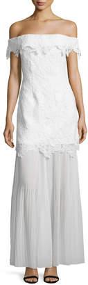 Self-Portrait Self Portrait Off-the-Shoulder Guipure Lace Bridal Gown, White