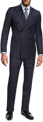 Ermenegildo Zegna Tonal Check Wool Double-Breasted Two-Piece Suit, Navy