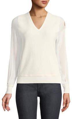 Elie Tahari Maria Chiffon-Sleeve Sweater