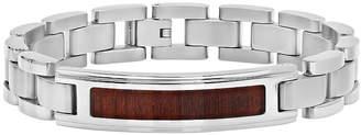 FINE JEWELRY Mens Stainless Steel Inlay ID Bracelet