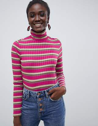 Esprit roll neck stripe top in pink