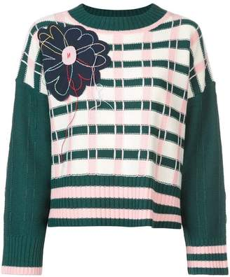 Mira Mikati flower patch striped jumper