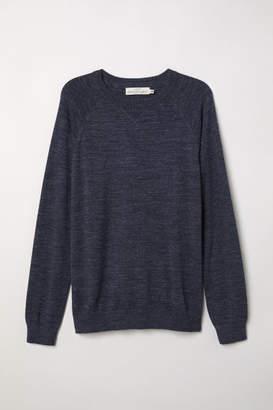 H&M Cotton Raglan-sleeved Sweater - Blue