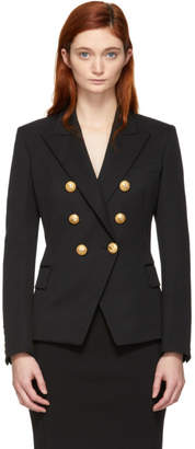 Balmain Black Double-Breasted Virgin Wool Blazer