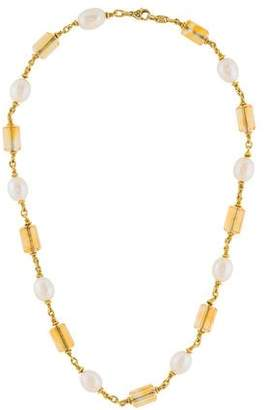 Judith Ripka 18K Citrine & Pearl Necklace