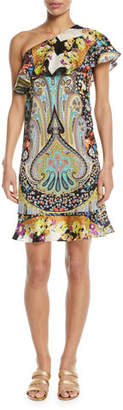 Etro Neon Paisley Floral Ruffle One-Shoulder Dress