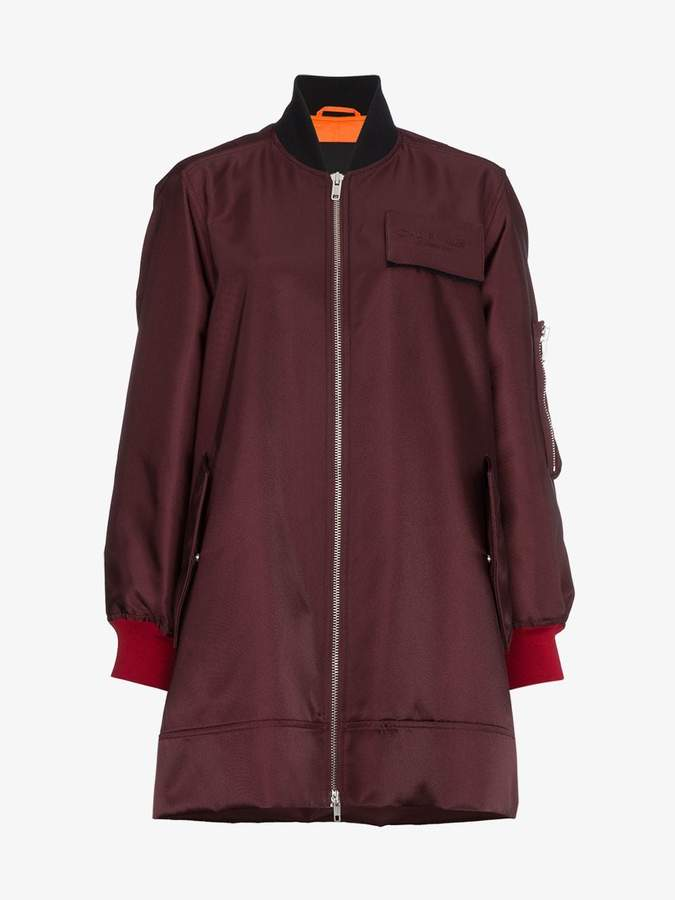 zip-up long bomber jacket