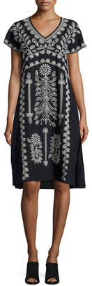 JWLA by Johnny Was Jolina Easy-Fit Embroidered Dress, Black, Plus Size $290 thestylecure.com