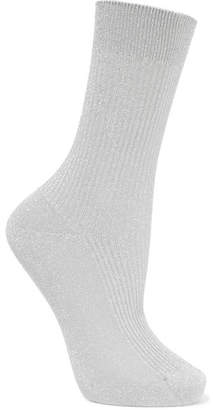 Maria La Rosa Metallic Ribbed-knit Socks - Silver