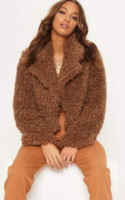 6640c66b07d PrettyLittleThing Brown Cropped Teddy Faux Fur Coat