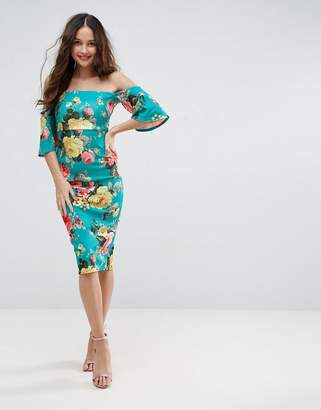 Asos Textured Green Floral Fluted Sleeve Midi Dress