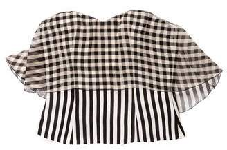DELPOZO Striped Bustier Top