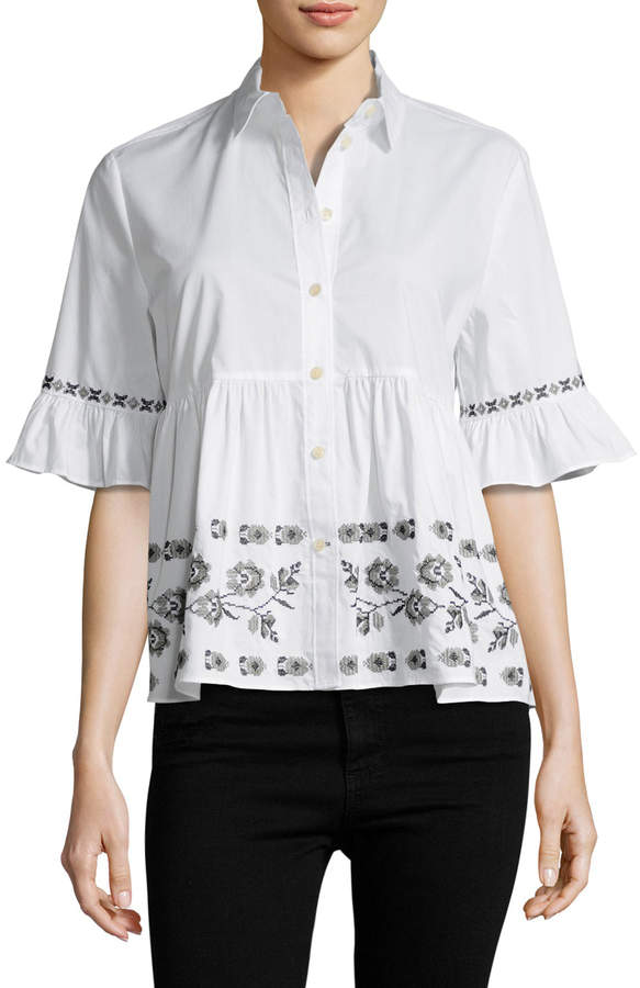 Kate Spade New York Women's Embroidered Poplin Shirt