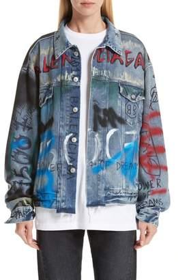 Balenciaga Graffiti Print Denim Jacket