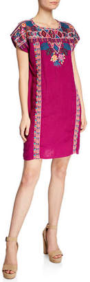 Johnny Was Quinn Embroidered Short-Sleeve Shift Tunic Dress