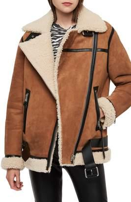 AllSaints Rei Genuine Shearling Coat